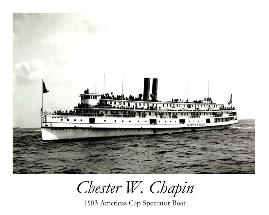 Chester W. Chaplin 1903 Americas Cup Spectator Boat Print# 6004A